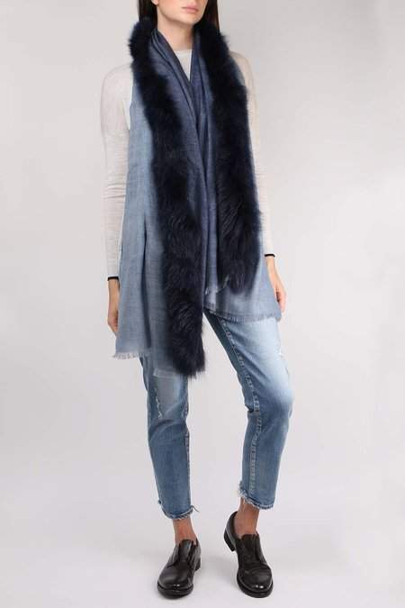 AMA Pure Double Fox Fur Scarf - Blue/Azzurro