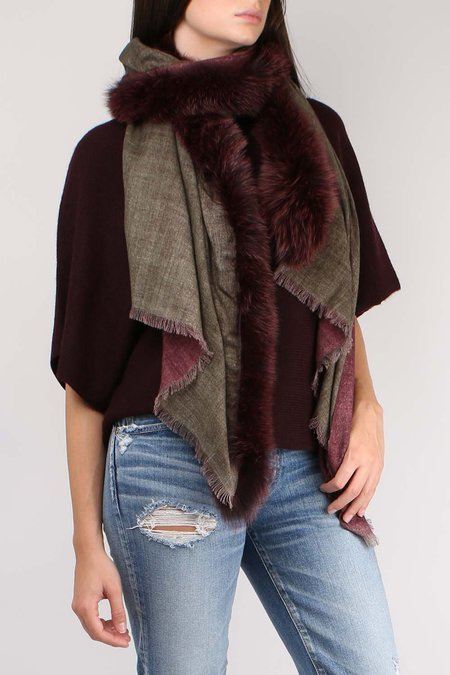 AMA Pure Double Fox Fur Scarf - Wine/Olive