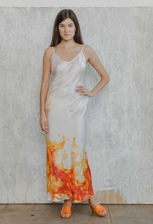 a5a6aa528be8 Priscavera Classic Slip Dress - Fire/White   Garmentory