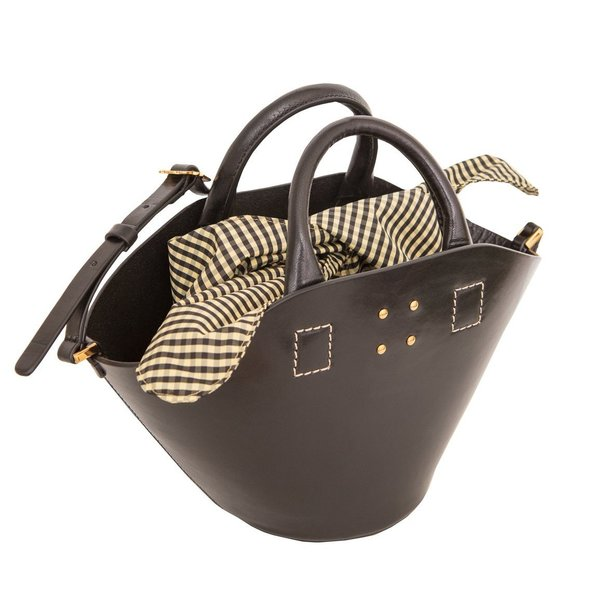 0ed0fe142886 Trademark Small Leather Basket with Gingham Insert - BLACK | Garmentory