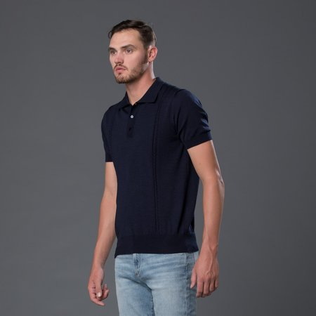 David Hart Cable Knit Polo - Navy