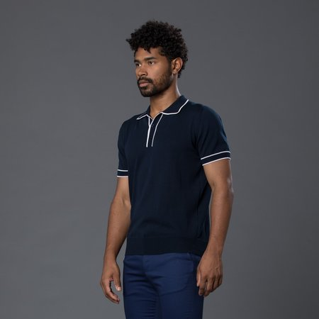 David Hart Tipped Polo - Navy/White