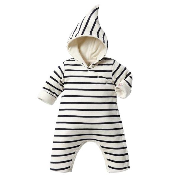 785185fa1c8 KIDS Petit Bateau Baby Padded Jumpsuit With Hood - Blue And White Stripes
