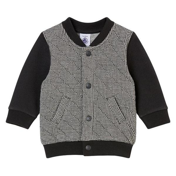cd29717046b466 KIDS Petit Bateau Baby Quilted Sweater With Snaps - Black And White  Houndstooth