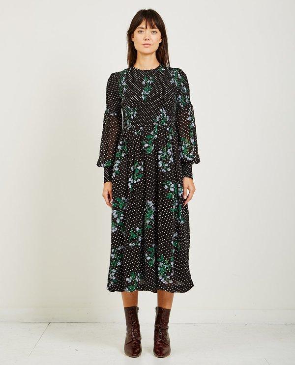 8d5cb392ac6f Ganni ROMETTY GEORGETTE DRESS - BLACK | Garmentory