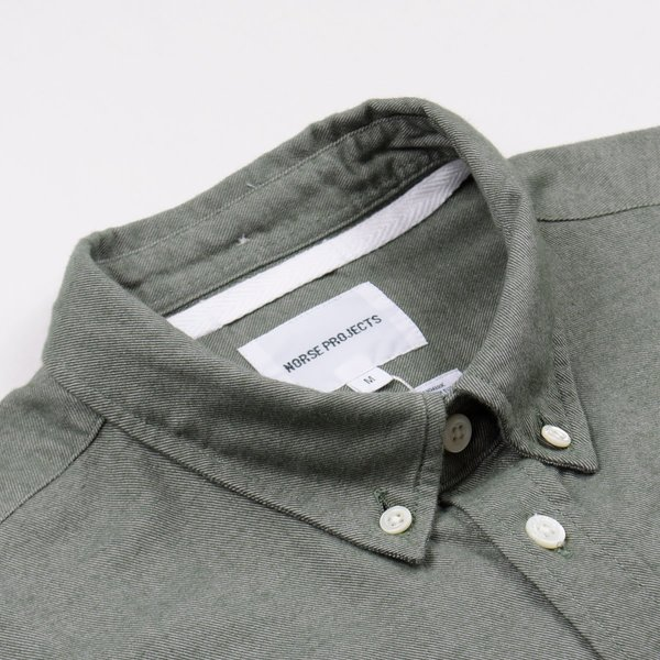 581105b9fa0 Norse Projects Anton Brushed Flannel Shirt - Sitka Green | Garmentory