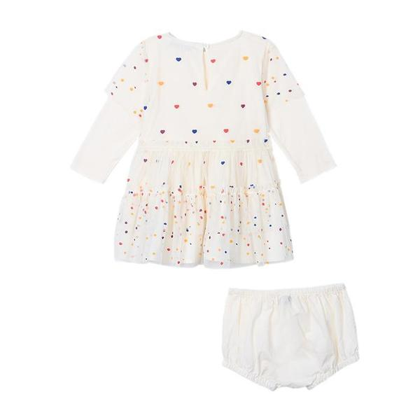1a26a0dca948b KIDS Stella McCartney Baby Karina Dress - Cream Tulle With Multicolour  Hearts
