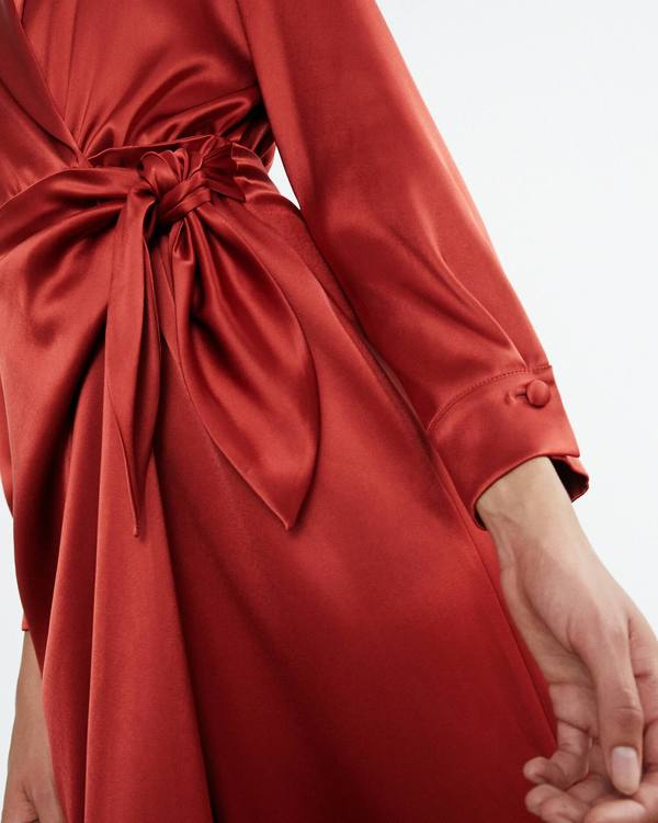 a8511dd841d Nanushka EZRA Satin wrap dress - Red