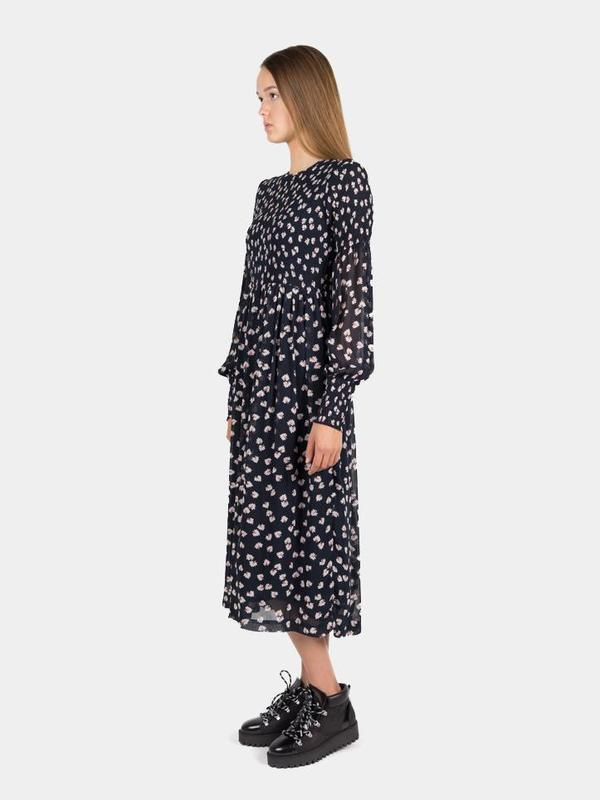 fef76611 Ganni Rometty Smoked Georgette Dress - Total Eclipse | Garmentory