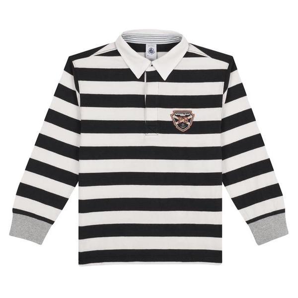eea5a778b5 KIDS Petit Bateau Child Polo Long Sleeved T-shirt - Black And White Stripes