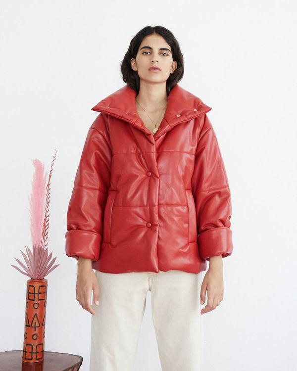 d82895772 NANUSKHA Hide Vegan Leather Puffer Jacket - red on Garmentory