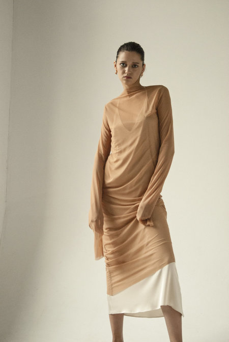 K M by L A N G E ENDLESS SLEEVES tulle DRESS - nude