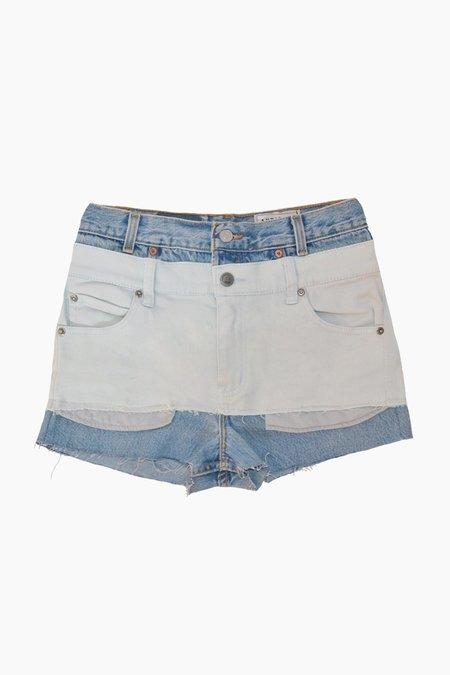 Antidote Two-tone Denim Shorts - light wash