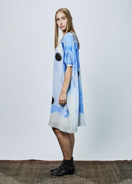 Antoni + Alison Bow and Dot Oversize Dress - blue/white