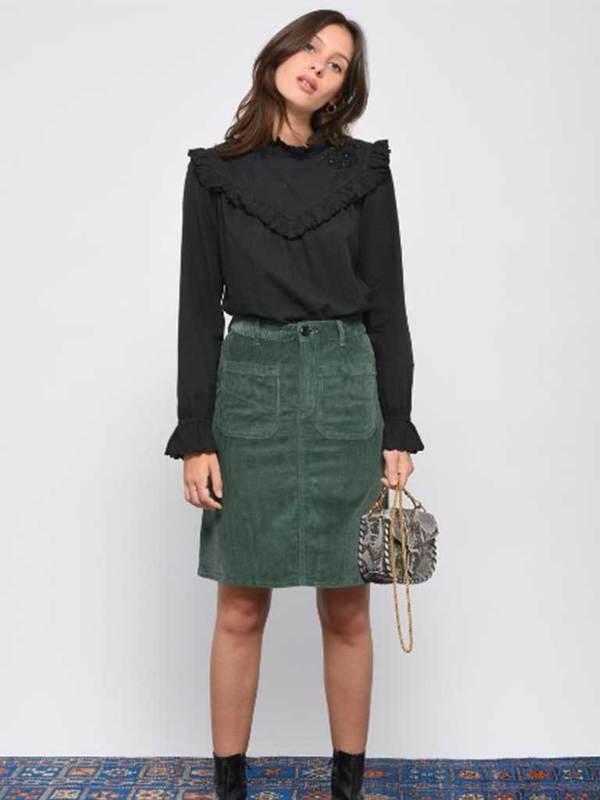 904252801666 Leon & Harper Jubile Velvet Cord Skirt - Green | Garmentory
