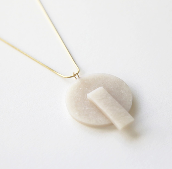 Highlow Shape Form Necklace - OFF WHITE
