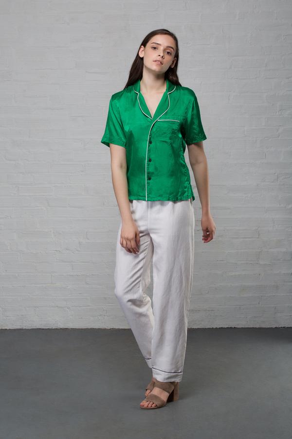 Creatures of Comfort PJ Silk Linen Pant - White