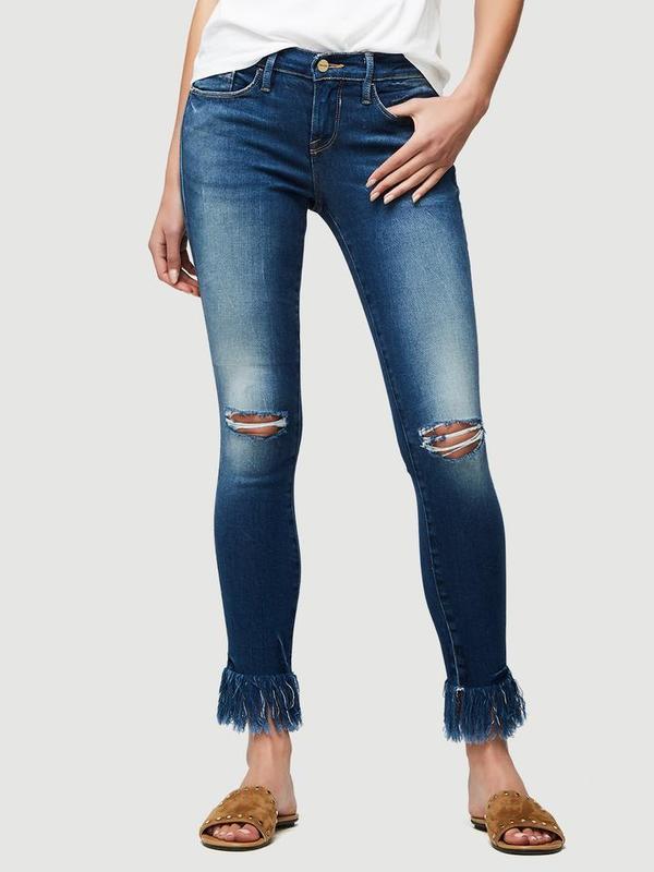 FRAME Denim Le Skinny Shredded Raw Denim Jeans - Lambeth | Garmentory