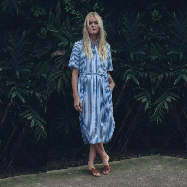 Trovata Florence S/S Shirtdress - Blue/White Stripe on Garmentory