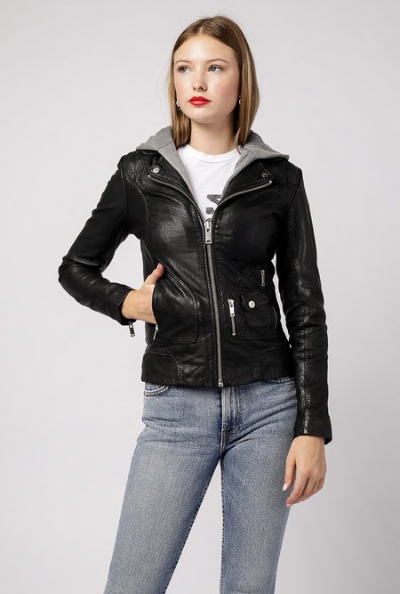 Doma Leather Classic Leather Hooded Jacket - Black