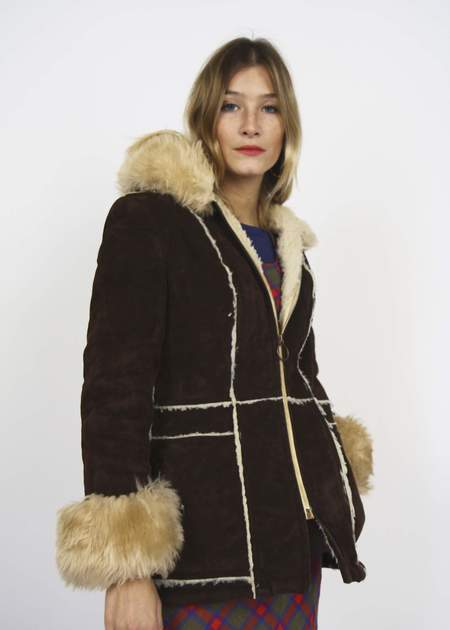 Bird On A Wire Vintage 70s Sheepskin Hooded Coat