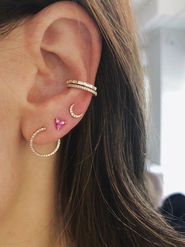 fe302b523f477 EF Collection Mini Diamond Moon Stud Earrings - 14K YELLOW GOLD on  Garmentory