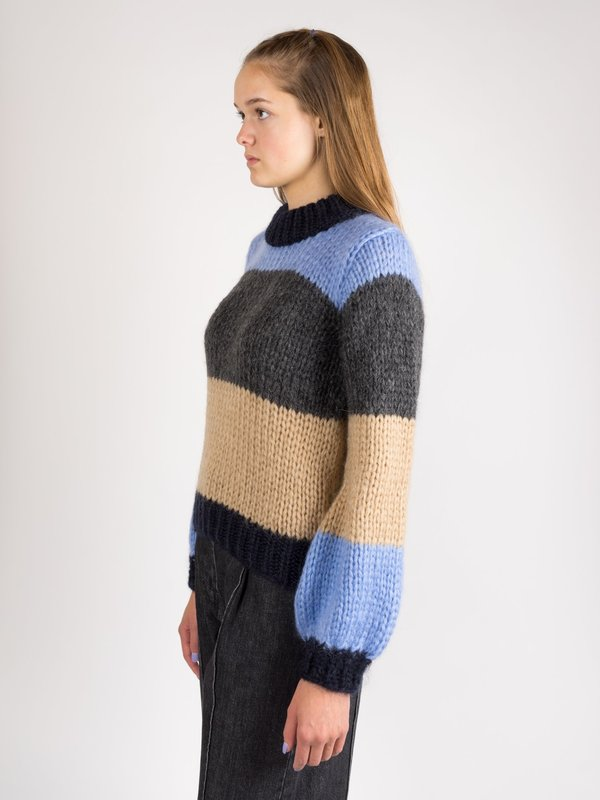 ec2a25f7 Ganni The Julliard Mohair Sweater - Striped Block Colour | Garmentory