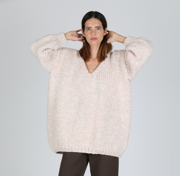 I love Mr. Mittens Oversized V-neck - Marshmallow/Soft Pink
