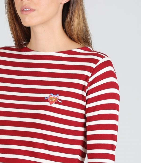Maison Labiche Yummy Heart Sailor Shirt - Burgundy/White