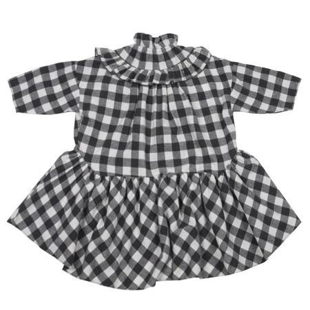 Kids Tambere Dress With Ruffles - Black/White Gingham