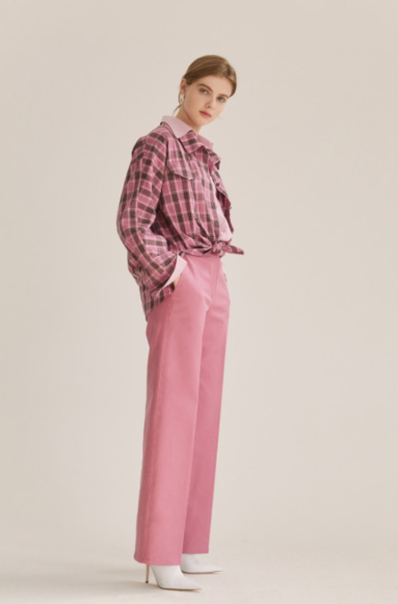 NUVO10 Double Layered CHECK Shirts BLOUSE - Pink