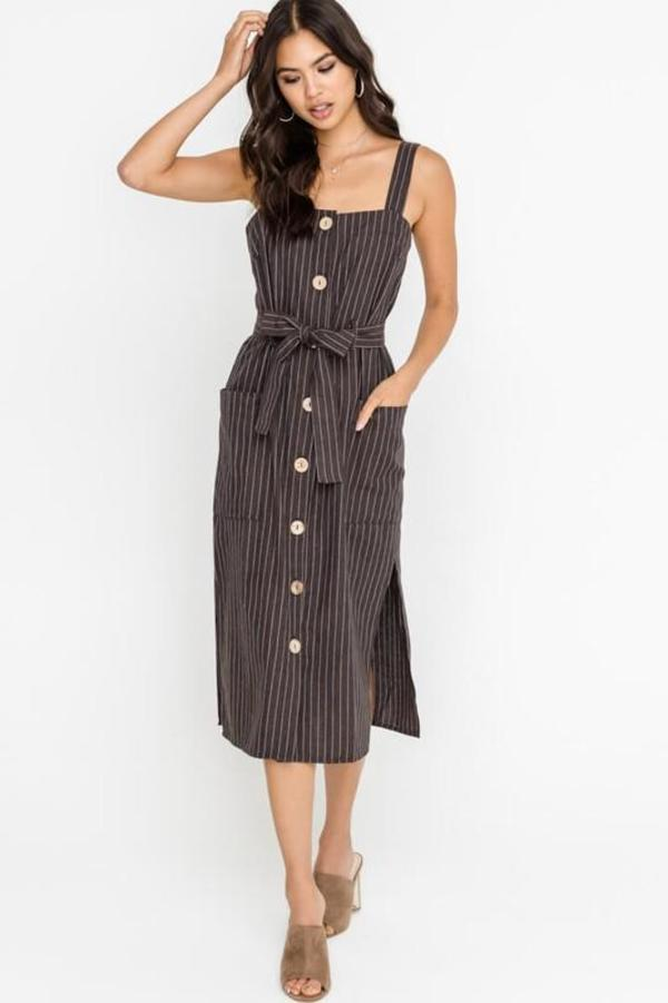 ef8df2dbec Lush Button Front Dress - Pinstripe