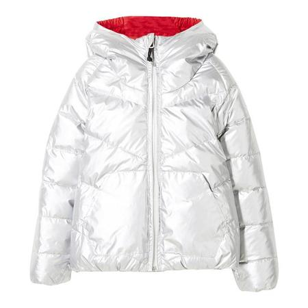 KIDS Finger In The Nose Snowdance Reversible Down Winter Jacket - Silver/Red/Navy Colourblock