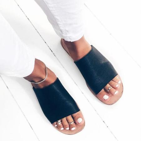 "James Smith ""Off duty"" Leather Slides - Black/natural"