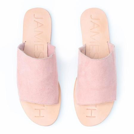 "James Smith ""Off duty"" LEATHER SLIDES - Pink suede"