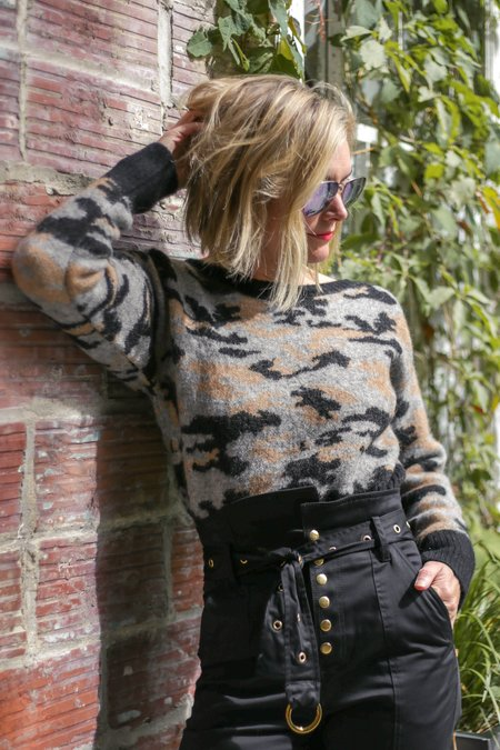 Marissa Webb Freda Cropped Camo Sweater