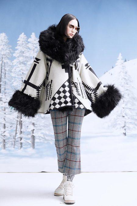 Lindsey Thornburg + Pendleton Los Ojos Trench Cloak - White Shearling