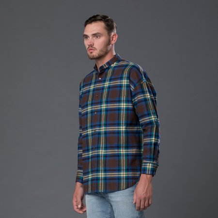 Gustav Von Aschenbach Stand Collar Plaid Flannel Shirt - Navy/Green