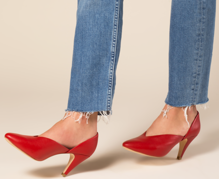 Charlotte Stone Pumps - Red