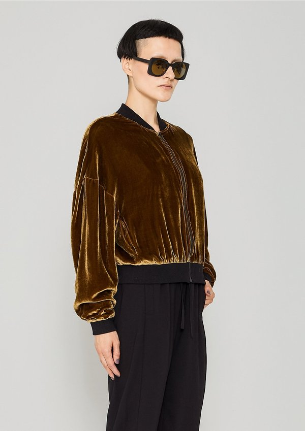 4ef4e95f8 Berenik SILK VELVET BOMBER JACKET - gold on Garmentory