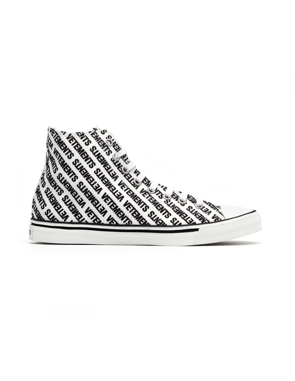 Vetements Logo Printed Converse Sneakers - White on Garmentory