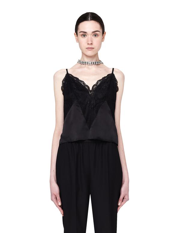 b729275724b0 Faith Connexion Silk Lingerie Top with Lace - black   Garmentory