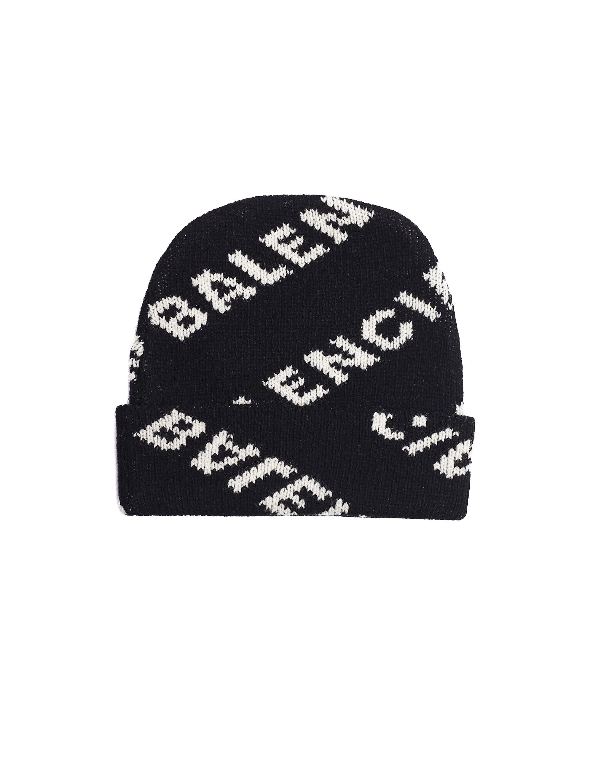 49efb847 Balenciaga Jacquard Logo Beanie - black | Garmentory