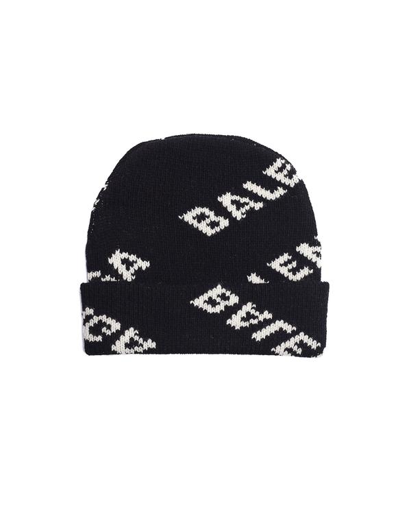 aae6ed93d88 Balenciaga Jacquard Logo Beanie - black