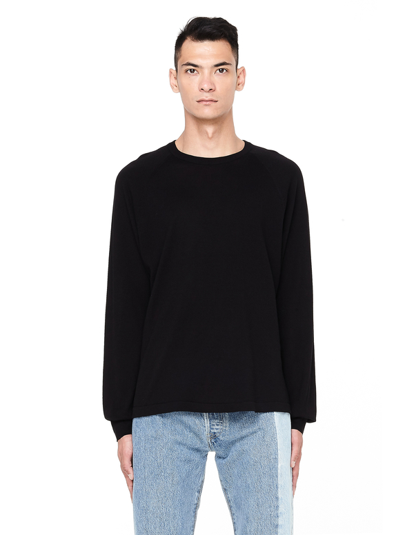 3a855c2fe23fd4 James Perse Cotton & Cashmere Crew Neck Jumper - Black | Garmentory