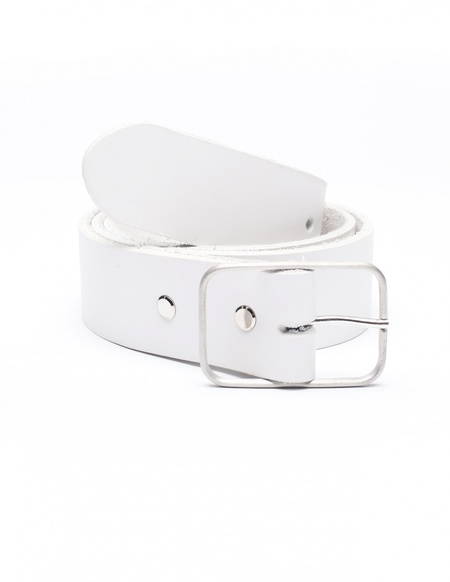 Amaury Leather belt - WHITE