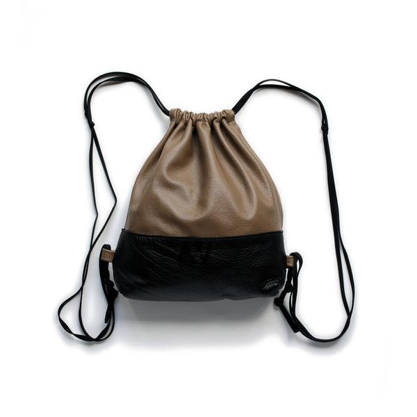 AW by Andrea Wong Mini Drawstring Backpack - CARAMEL/BLACK