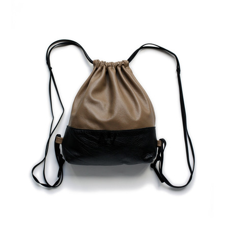 AW by Andrea Wong Mini Drawstring Backpack - CARAMEL/BLACK