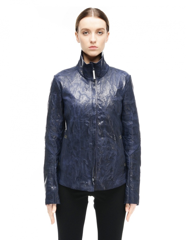 Isaac Sellam Leather Jacket Navy Blue Garmentory