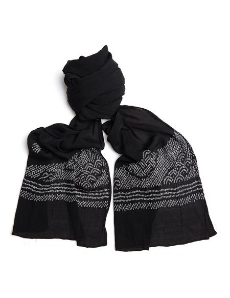 Blackyoto Embroidered silk scarf - BLACK
